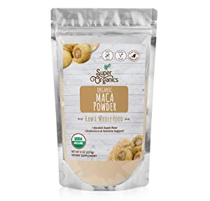 Super Organics Maca Powder   Endurance & Stamina Support  Organic Superfood Powder   Raw Superfoods   Whole Food Supplement – Vegan, Gluten-Free & Non-GMO, 8 oz