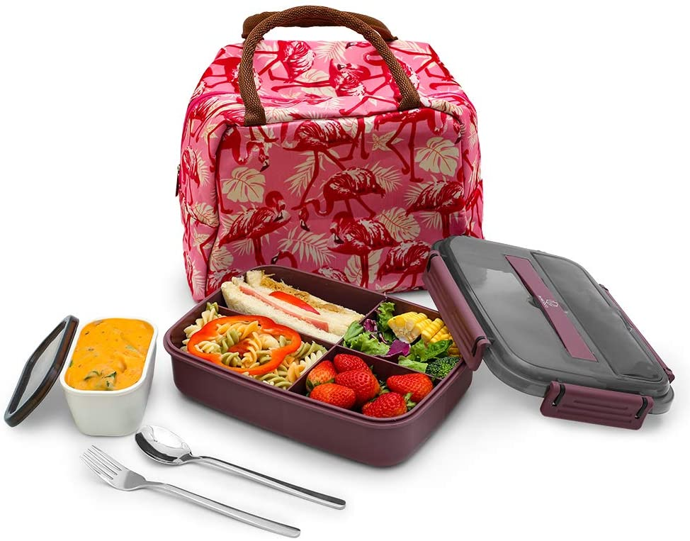 MINCOCO Bento Lunch Box Leak-proof Eco-Friendly Bento Box Food Storage Containers with Large Lunch Bag, Sauce Jar, Stainless Spoon&Fork for Adults Women Men Kids (Grape Purple)