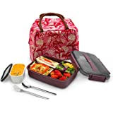 MINCOCO Bento Lunch Box Leak-proof Eco-Friendly Bento Box Food Storage Containers with Large Lunch Bag, Sauce Jar, Stainless