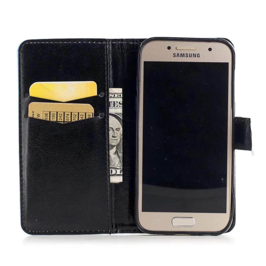 ... cartera Flip estilo libro con tapa suave silicona soporte para teléfono móvil Funda de piel sintética para Samsung Galaxy A3 2017 funda Wild Ganso: ...