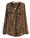 Demarkt Women's Sexy Animal Leopard Print Long Sleeve Blouse (L)
