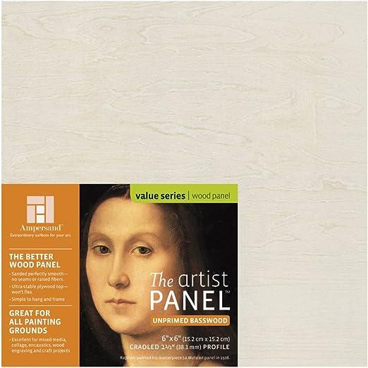 Ampersand Art Supply Unprimed Basswood Artist Panel 1-1//2 Cradled Profile 16x16,