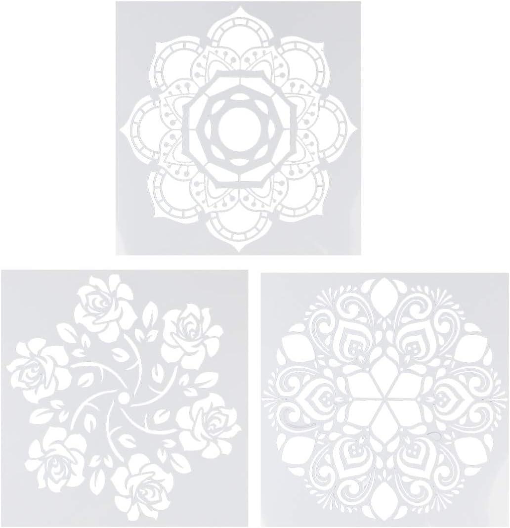 Tomaibaby 4 Piezas Pintura Dibujo Plantillas Mandala Plantilla Flor Punto Pulverización Plantillas para Bricolaje Piedras Piso Pared Azulejo Tela Madera Ardiente Arte Artesanía (Blanco)