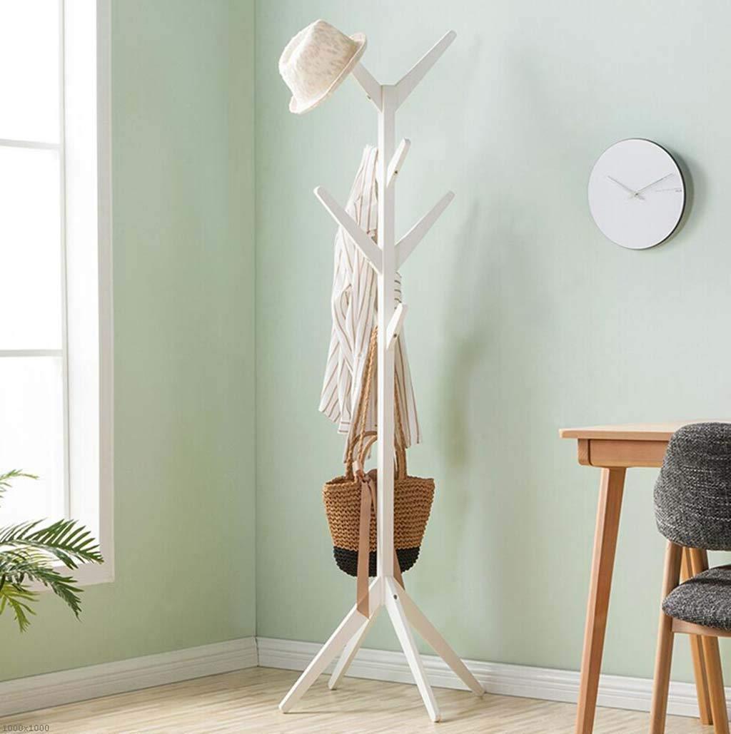 White Coat Rack, Solid Wood Flooring Hanger greenical Hanger Tree Shape Home Coat Rack,Woodcolor