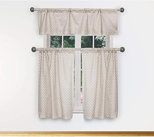 Vera Neumann – Celestia Metallic Geometric 100 Cotton Kitchen Tier Valance Set Small Window Curtain for Cafe, Bath, Laundry, Bedroom – Mocha