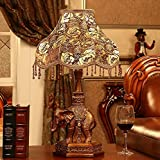 MILUCE European Style Table Lamp Bedroom Luxury Bedside Lamp Retro Decoration Study Elephant Lamp