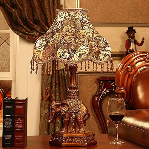 MILUCE European Style Table Lamp Bedroom Luxury Bedside Lamp Retro Decoration Study Elephant Lamp by MILUCE (Image #5)