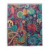Use4 Polyester Fabric Colorful Etnic Paisley Bathroom Shower Curtain Set with Hooks