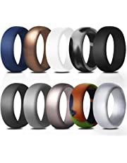 JewelryWe Mens Pack of 10 Silicon Rings Breathable Rubber Wedding Bands Promise Ring Set (Size 7-14)