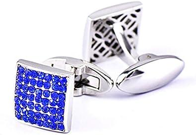 Aienid Gemelo Azul Cuadrado Circonita Azul Gemelos para Camisa para Hombre: Amazon.es: Joyería