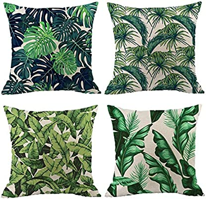 Pack of 4 Tropical Leaves Throw Pillow Cover Decorative Cotton ...