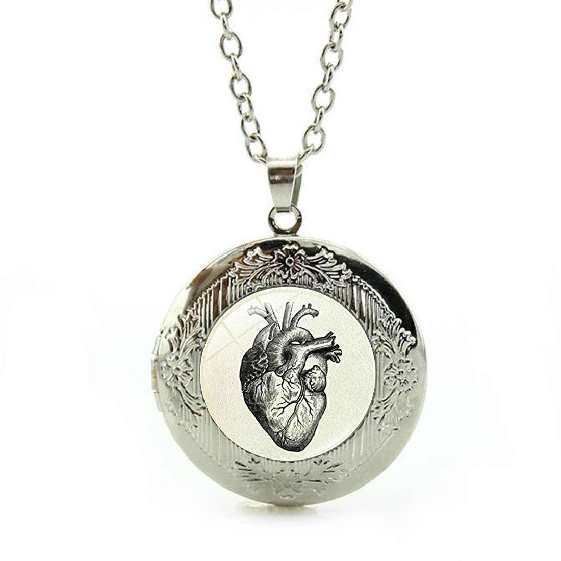 Women's Custom Locket Closure Pendant Necklace Heart Anatomical Drawing Included Free Silver Chain, Best Gift Set
