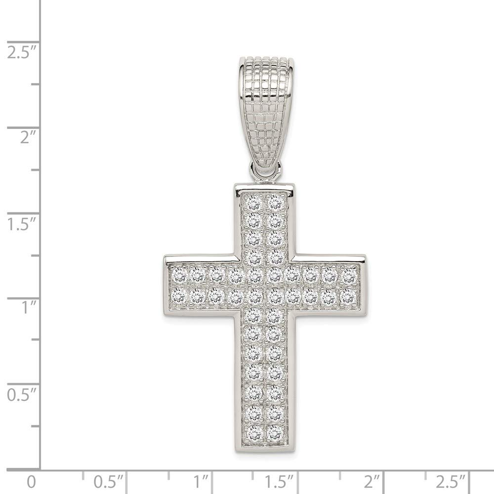 Solid 925 Sterling Silver Cubic Zirconia CZ Cross Large Pendant 60mm x 31mm