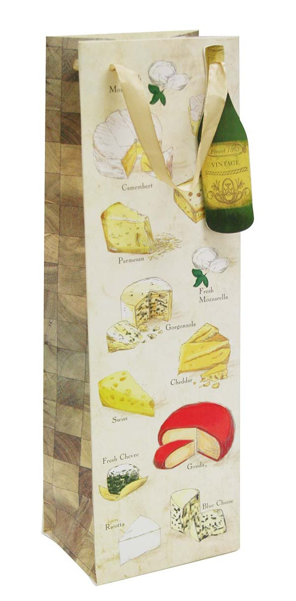 Cakewalk Say Cheese Illustrated Single Bottle Paper Wine Bag, Brown
