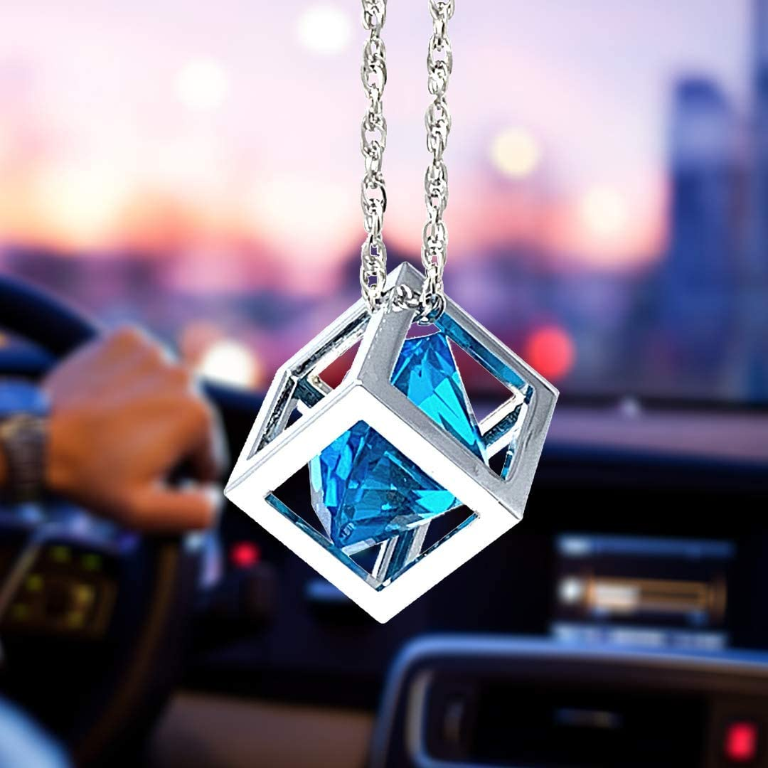 Blue Diamond Cube Crystal Car Rear View Mirror Charms, Bling Car Accessories, Sun Catcher Hanging Ornament w/Chain, Car Charm & Home Decor Ornament (Blue)