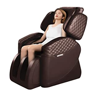 OOTORI Full Body Electric Massage Chair, Zero Gravity Neck Back Legs and Foot Shiatsu Massager with Heat and Foot Rollers (Brown)