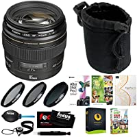 Canon EF 85mm f/1.8 USM Medium Telephoto Autofocus Lens w/ Software Suite & Accessory Bundle