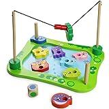ACOOLTOY Gioco in Legno Pesca Magnetico Giochi Puzzle con Dado per Bambini 18 Mesi+