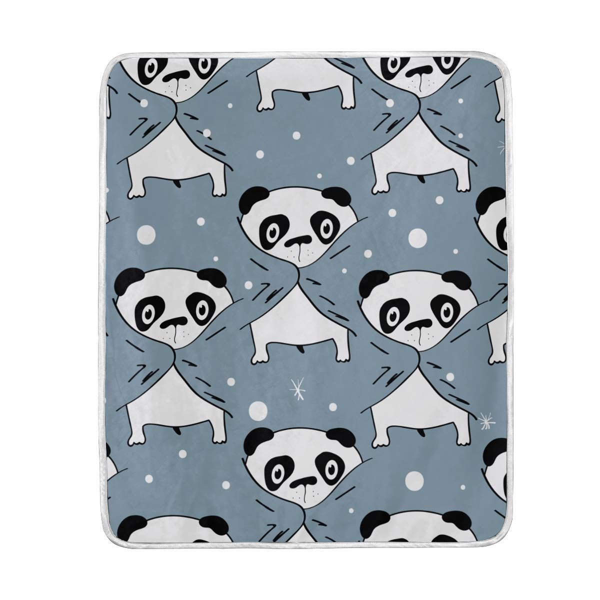 ALAZA Seasonal Quilt Cartoon Funny Panda Crystal Velvet Throw Blanket for Bed 50 x 60 inch Kids Baby Girls Colorful Painting Couch Blanket Throw Decor