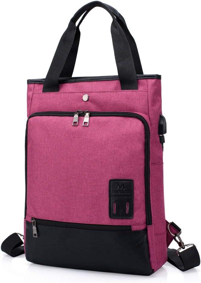 SINOKAL Mochila para Mujeres Hombres Bolso Bolsa de Viaje Mochila de Portátil Backpack Impermeable para el Laptop del Negocio Trabajo Diario Ocio con Puerto de Carga USB (Rosa roja)