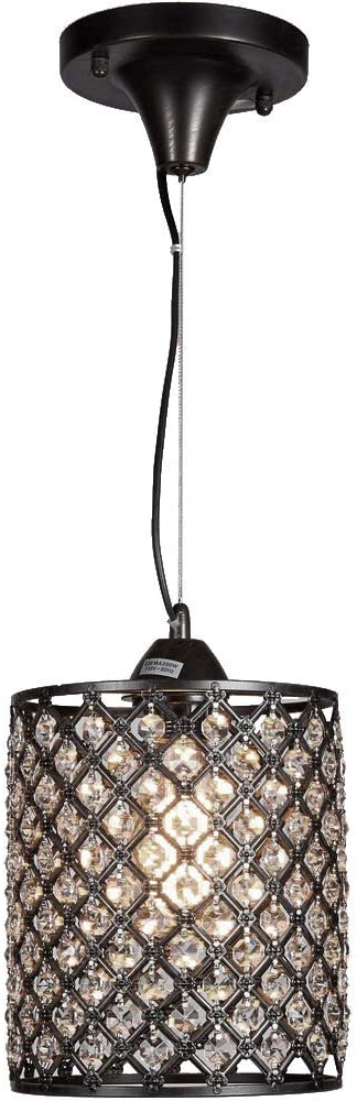 New Galaxy Antique Bronze Finish 1-Light Round Crystal Chandelier Mini Hanging Pendant Ceiling Lamp Fixture