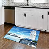 Anti-Slip Thick Rug The Merlion fountain in Sapore HDRstlye Comfort at Home, Office W30'' x H18''
