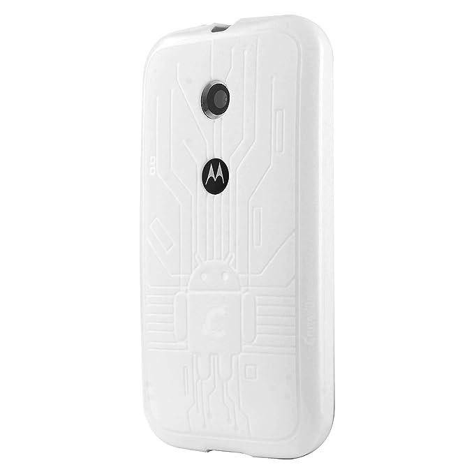 on sale d15ff e1b64 Moto E Case, Cruzerlite Bugdroid Circuit TPU Case Dompatible for Motorola  Moto E - White