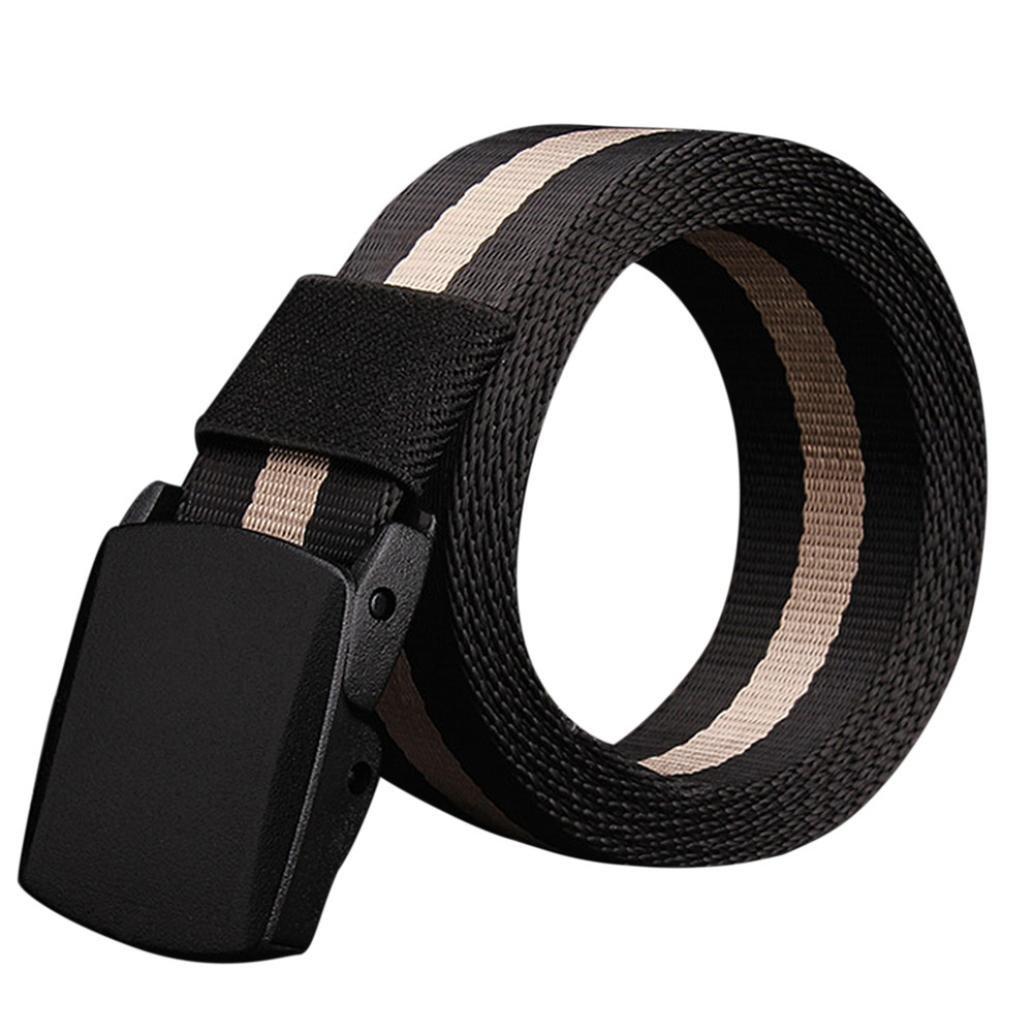 Belts,toraway Men Hypoallergenic Metal Free Plastic Automatic Buckle Canvas Belt (Black #1)