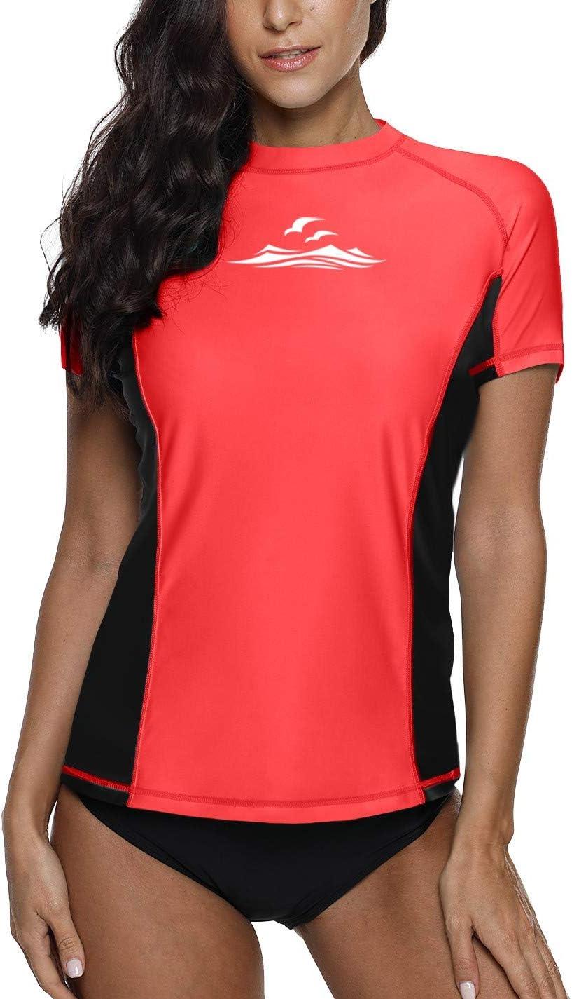 BesserBay Womens UV Sun Protection 1//4 Zip Short Sleeve Rash Guard Swimsuit Top