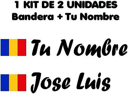 Pegatina Vinilo Bandera Rumania + tu Nombre - Bici, Casco, Pala De Padel, Monopatin, Coche, Moto, etc. Kit de Dos Vinilos (Negro): Amazon.es: Coche y moto