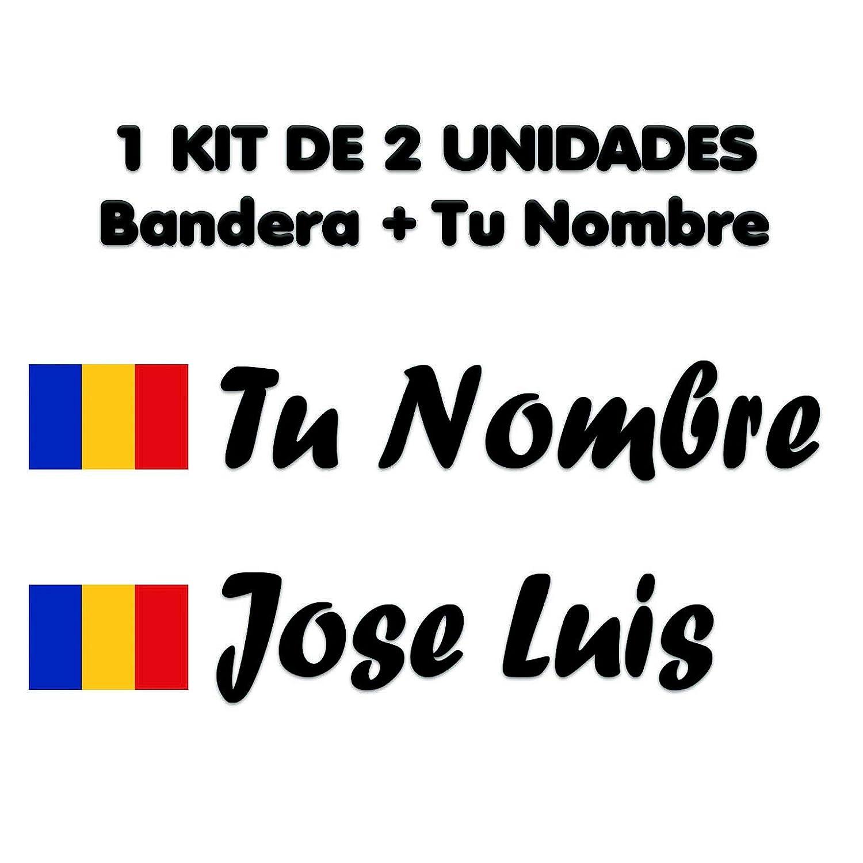 Pegatina Vinilo Bandera Rumania + tu Nombre - Bici, Casco, Pala De ...