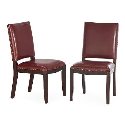Pleasant Amazon Com Dark Red Bonded Leather Dining Chairs Set Of 2 Creativecarmelina Interior Chair Design Creativecarmelinacom