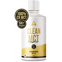 Clean MCT Oil: 100% Pure C8 Caprylic Acid Triglycerides | Best Ketogenic Diet Supplement | The Ultimate Keto Coffee Fat for Ketones | by LevelUp® (32oz)