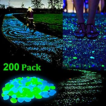 Zesgood 200pcs glow in the dark garden pebbles stone for walkway yard and decor diy for Glow in the dark garden pebbles