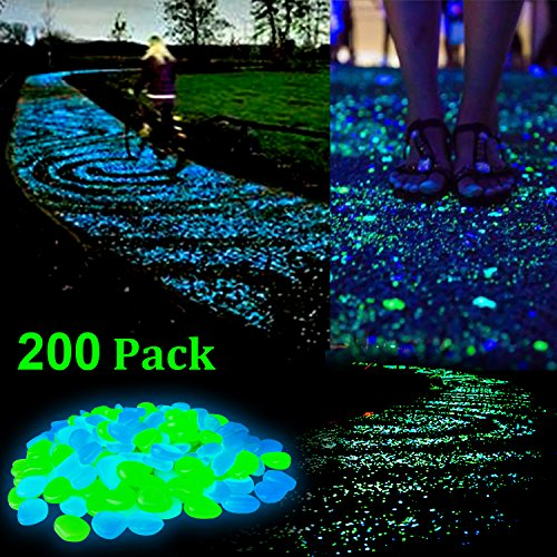 ZesGood 200PCS Glow in the Dark Garden Pebbles Stone for Walkway Yard and Decor DIY Decorative Gravel Stones in Blue & (Garden)