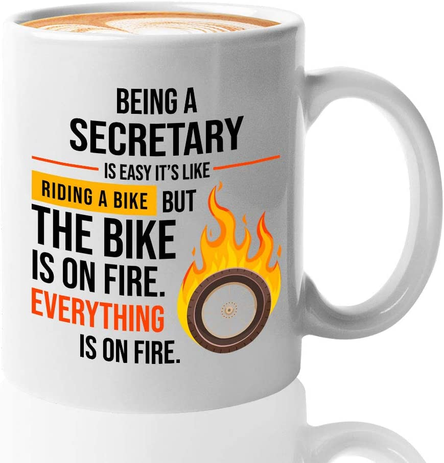 Secretary Coffee Mug 11 Oz - Being A Secretary Is Easy It's Like Riding A Bike - Secretary Appreciation Presents for Office Financial Legal Medical School Secretaries Student Graduation Mother's Day