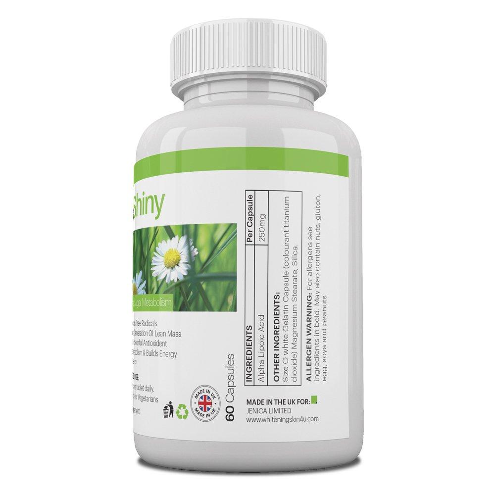db4b95794ca8 BeShiny Alpha Lipoïque Acide pour le blanchiment de la peau et la perte de  graisse - ALA Puissant antioxydant favorise le métabolisme du sucre et la  ...