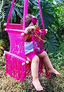 Baby hanging chair handmade macrame cotton for Baby garden swing amazon