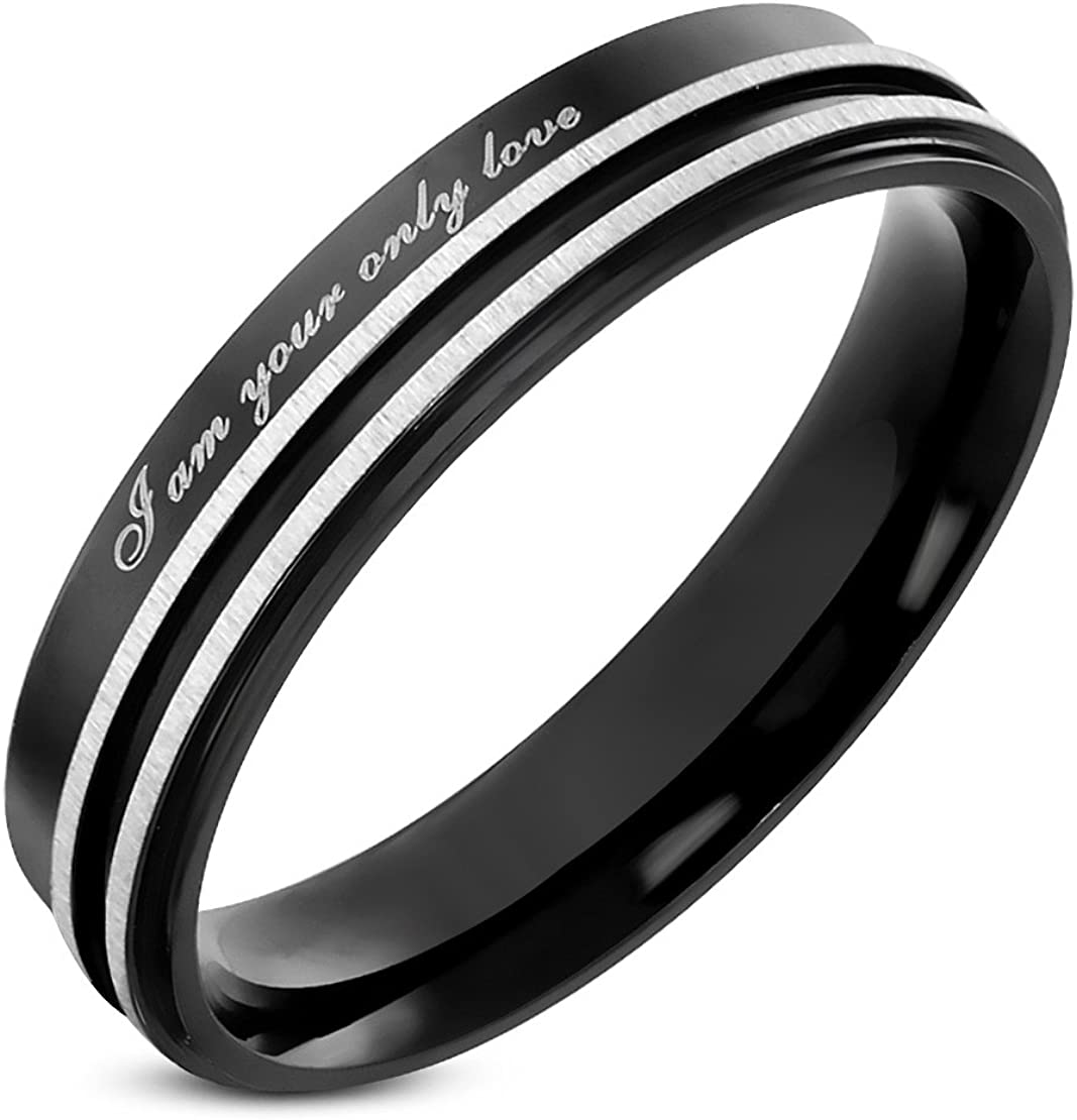 Stainless Steel Black 2 Color Satin Striped Affirmation-Love Comfort Fit Wedding Band Ring