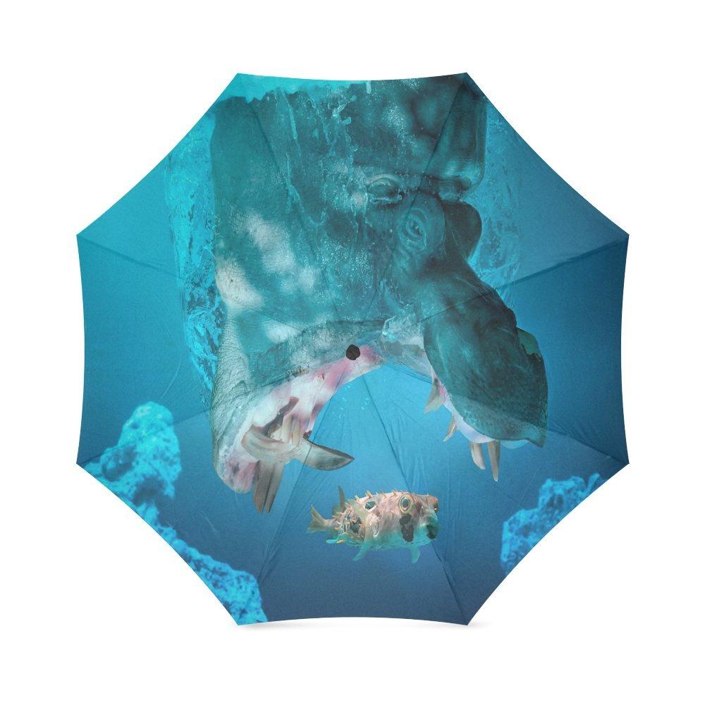 カスタムかわいいHippoカブスコンパクト折りたたみ式防雨防風旅行傘 B077KNFTKT