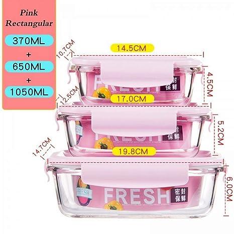 FANHE 3 Unids Food Lunch Box con Bolsa de microondas ...