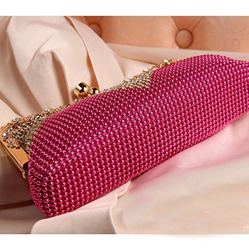Monedero Para Mujer De La Perla De Faux En Cascada Grano Del Rhinestone Tarde Embrague Moda Pink