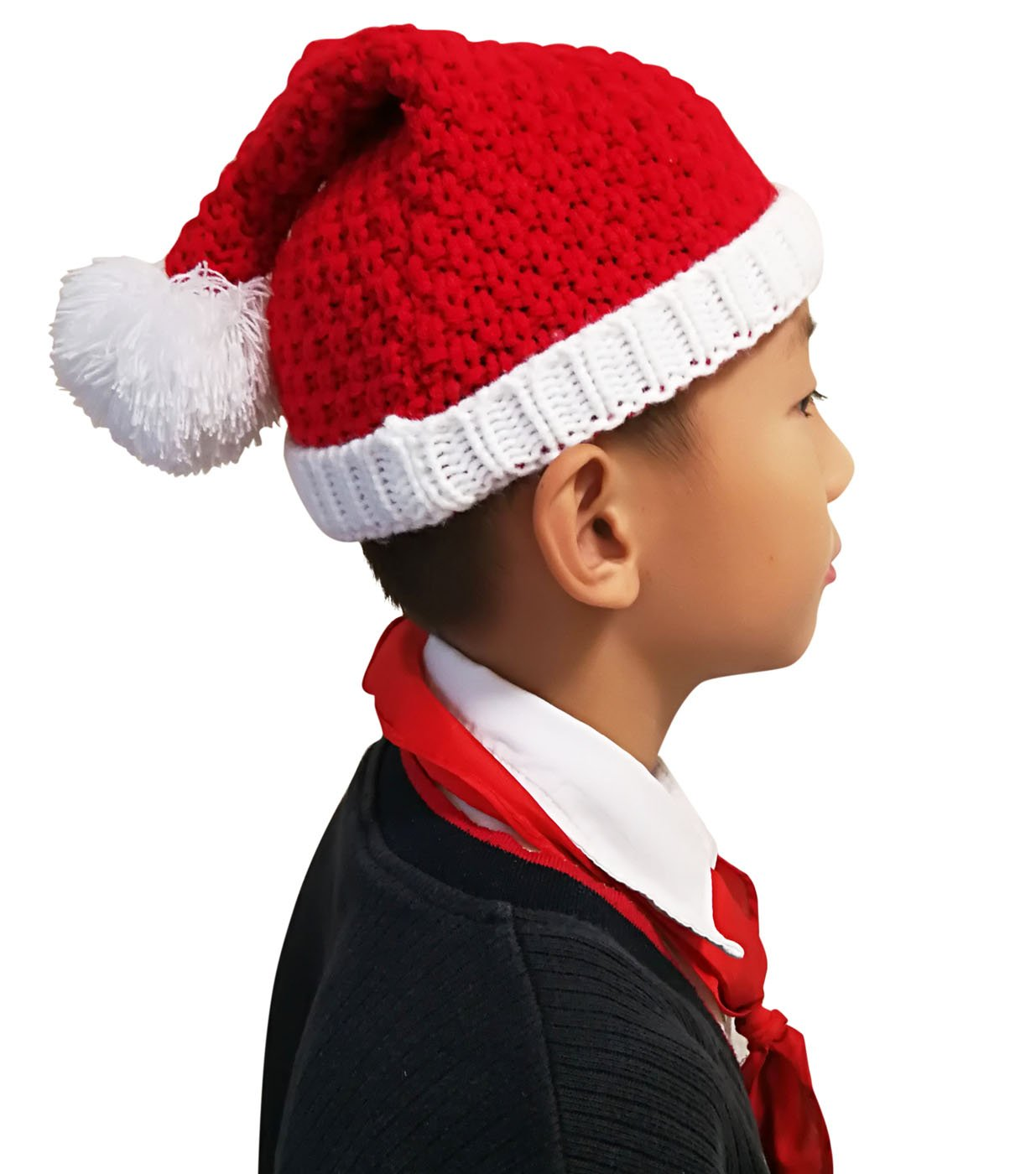 Winter Beanie Scarf for Boys Girls (5-12 Years) Hats Circle Scarf Kids Slouchy Skull Cap NT2360-BK