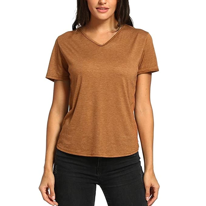 d546135d7e6 Image Unavailable. Image not available for. Color  DIANA S Tops Women  Casual Short Sleeve Backless Blouse T Shirt