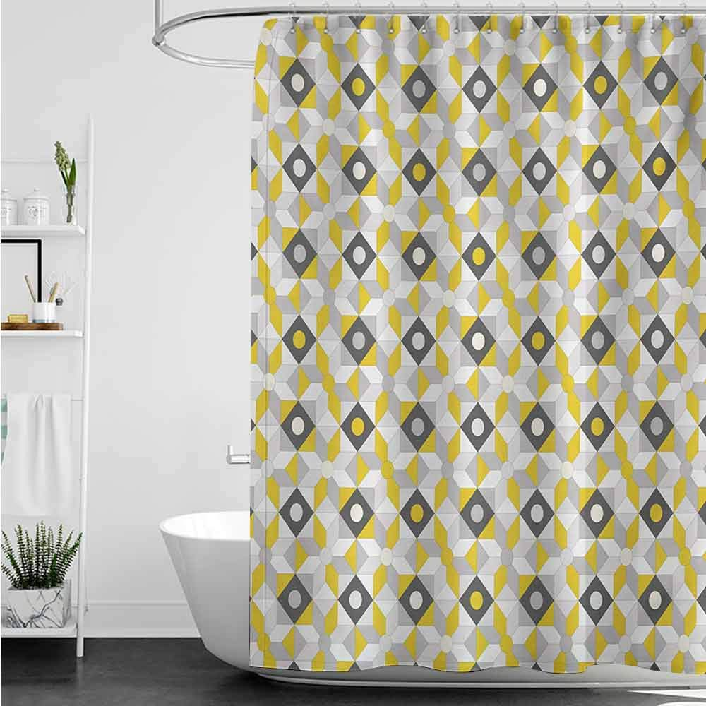 homecoco Shower Curtains Fabric Liner Grey and Yellow,Geometric Retro 58s 70s Home Inspired Rounds Squares Image,Charcoal Grey and Marigold W72 x L72,Shower Curtain for Shower stall