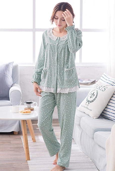 lxylllzs Pijama Mujer Raso Invierno,Pijama de Primavera y otoño para Mujer, Servicio de hogar de algodón de Talla Grande y Manga larga-4XL_D,Pijamas Mujer Sedoso Manga: Amazon.es: Hogar