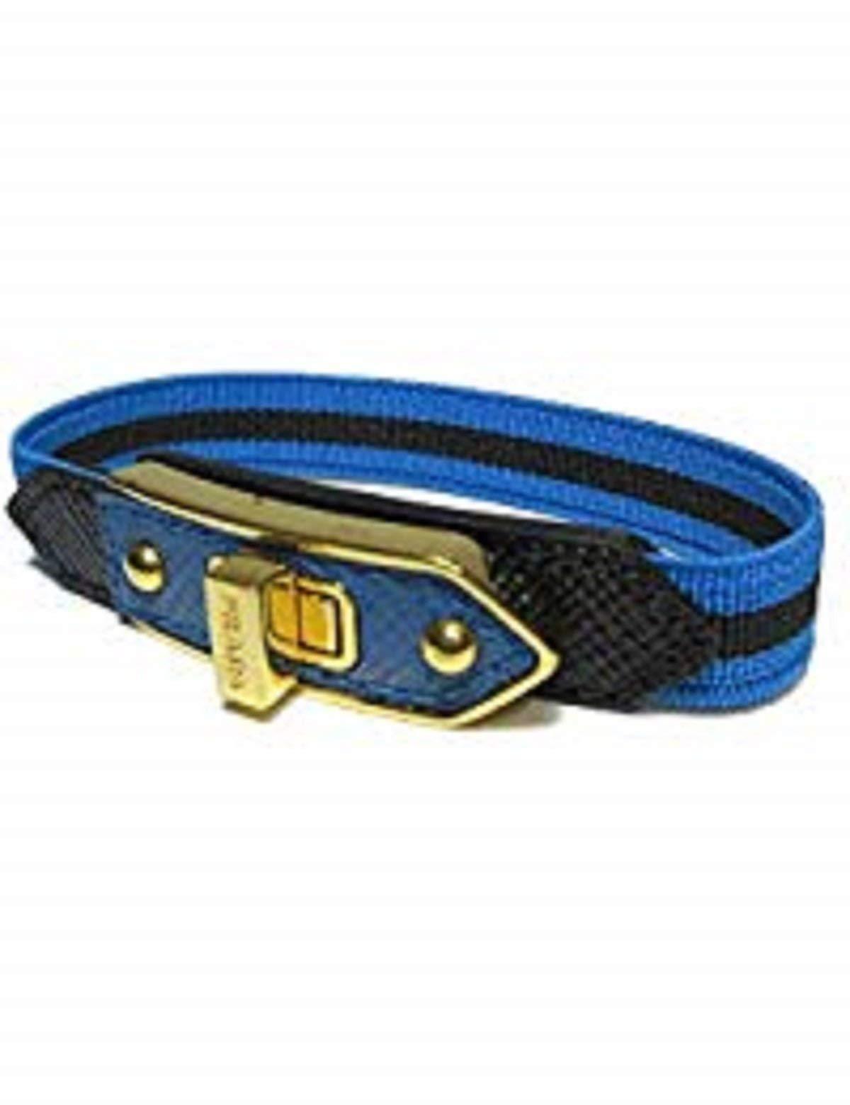 Prada Tessuto Celeste Nero Elastic Bracelet Turn Clasp 1IB164