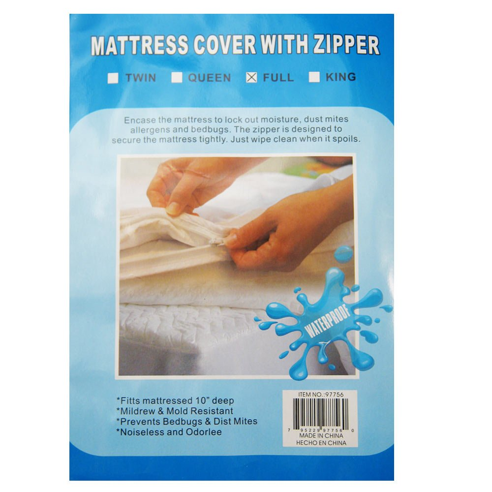Amazon.com: Full Size Bed Mattress Cover Zipper Plastic Waterproof Bed Bugs Protector  Mites: Home & Kitchen