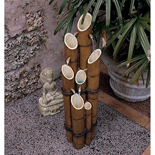 - Asian Decor Water Fountain - Nearly 4 Foot Tall Cascading Bamboo Fountain - Outdoor Water Feature