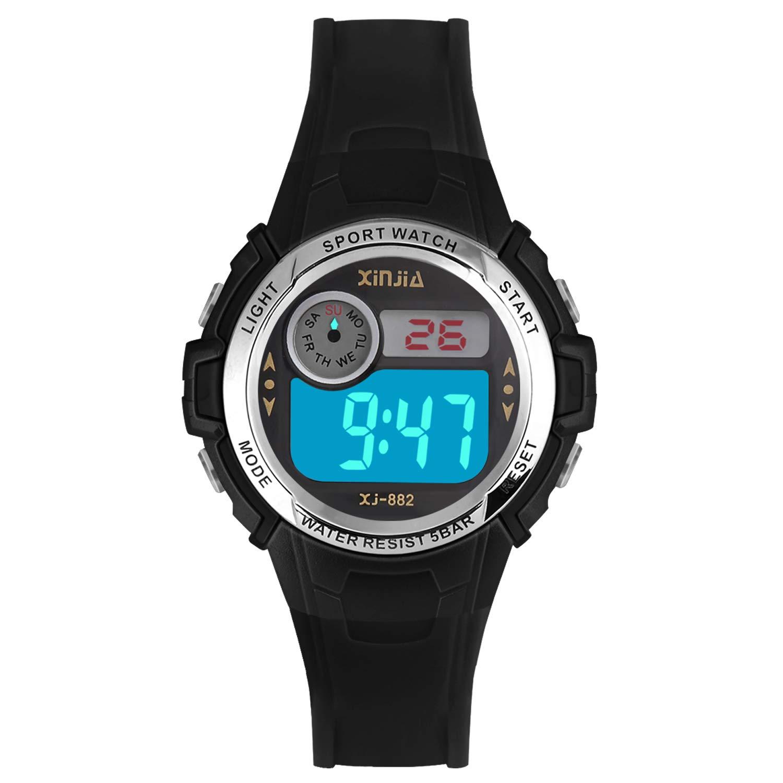 Reloj Digital para Niña Niño,Chicos Chicas Impermeabl Deportes al Aire Libre LED Multifuncionales Relojes de Pulsera con Alarma (Negro): Amazon.es: Relojes
